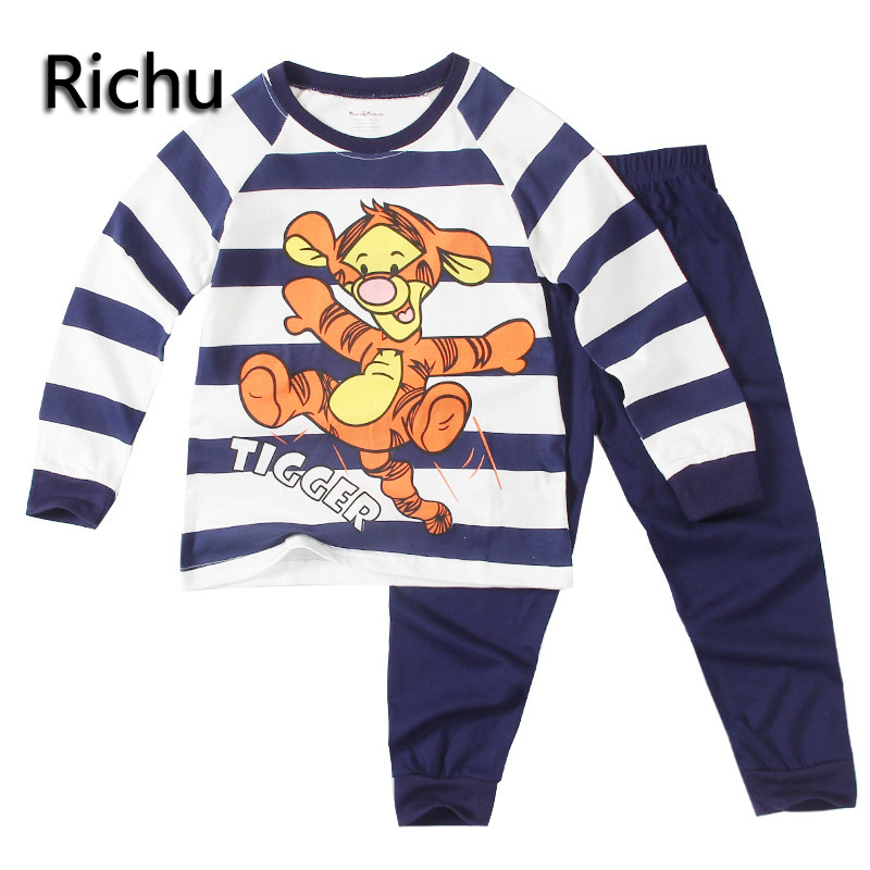 Richu boy and girl clothing sets  kids clothes pajamas baby knitted printed pyjama sets toddler suits sleepwear shirts+pant pjs