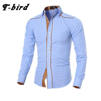 Men Shirt Long Sleeve 2017 Brand Shirts Casual Male Slim Fit Solid Line Decorative Buttons Chemise Mens Camisas Dress Shirts Men