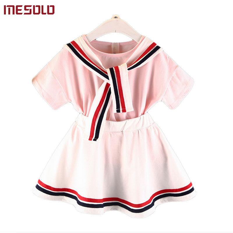 MESOLO 2018 Navy Girls Suit College Wind Striped Collar Fashion Casual Comfort Outfit Short Sleeve Top + Skirt 2 Pcs Set