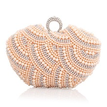 New Fashion Women's Evening Clutch Pearl Beading Crystal Striped Handbag Apple Shape Pouch Shoulder Bag Crossbody Messenger Flap cute embroidered applique fashion striped ice cream design ladies shoulder bag handbag crossbody mini messenger bag pouch flap