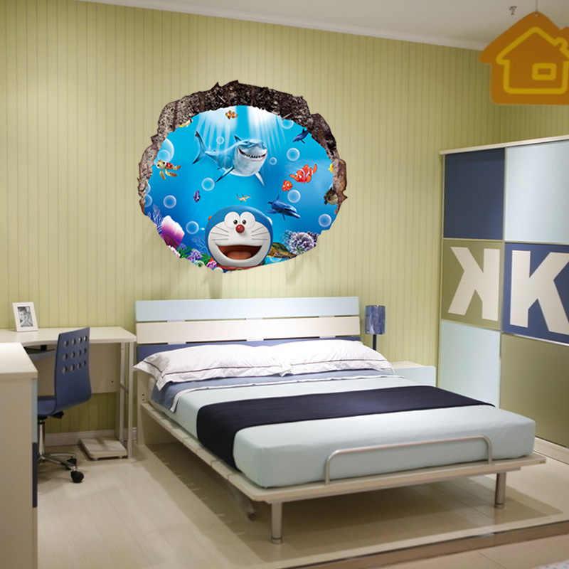 Wallpaper A Doraemon 3d Three Dimensional Wall Stickers Children