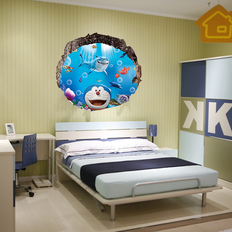Wallpaper - A Doraemon 3D three-dimensional wall stickers children room bedroom living room warm background wall stickers