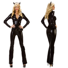 Womens Gothic Fashion Black Overall Catsuit Jumpsuits & Playsuits Costume Club Wear 6712
