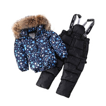 TheWinter And Foreign Children Baby White Duck Down Deep Blue Feather Boys And Girls Clothes In Ski Suit Large Fur Collar  Suit
