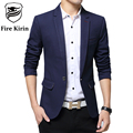 Fire Kirin Men Blazer Slim Fit Suit Jacket Korean Fashion Casual Blazer Masculino 5XL Plus Size Black Blue Mens Blazers Q49