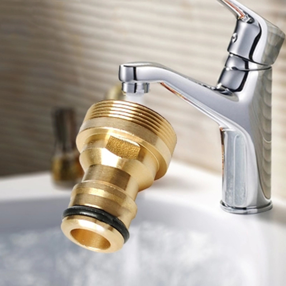 ZDYS Brass Hose Tap Connector, Copper Water  Washing Machine Thread  Tap Faucet Adapter