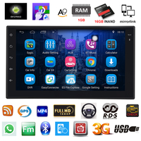 Android 6 0 Car Radio 7 Inch 2din Car Audio 1024x600 GPS Navigation Bluetooth USB 2