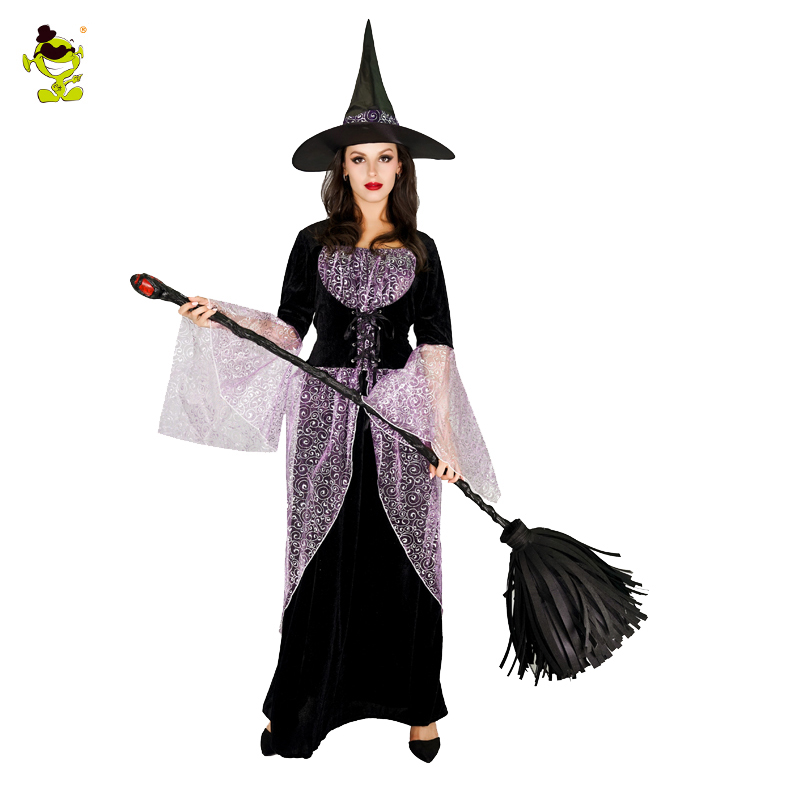 Purim Holiday Lady's Elegant Witch Costume Fashion Fancy Dress For Girls Halloween Carnival Masquerade Cosplay party Costumes