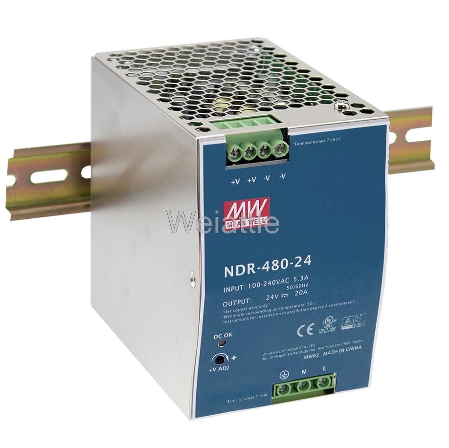 MEAN WELL original NDR-480-24 24V 20A meanwell NDR-480 24V 480W Single Output Industrial DIN Rail Power Supply original p1l 6480p 1u 480w