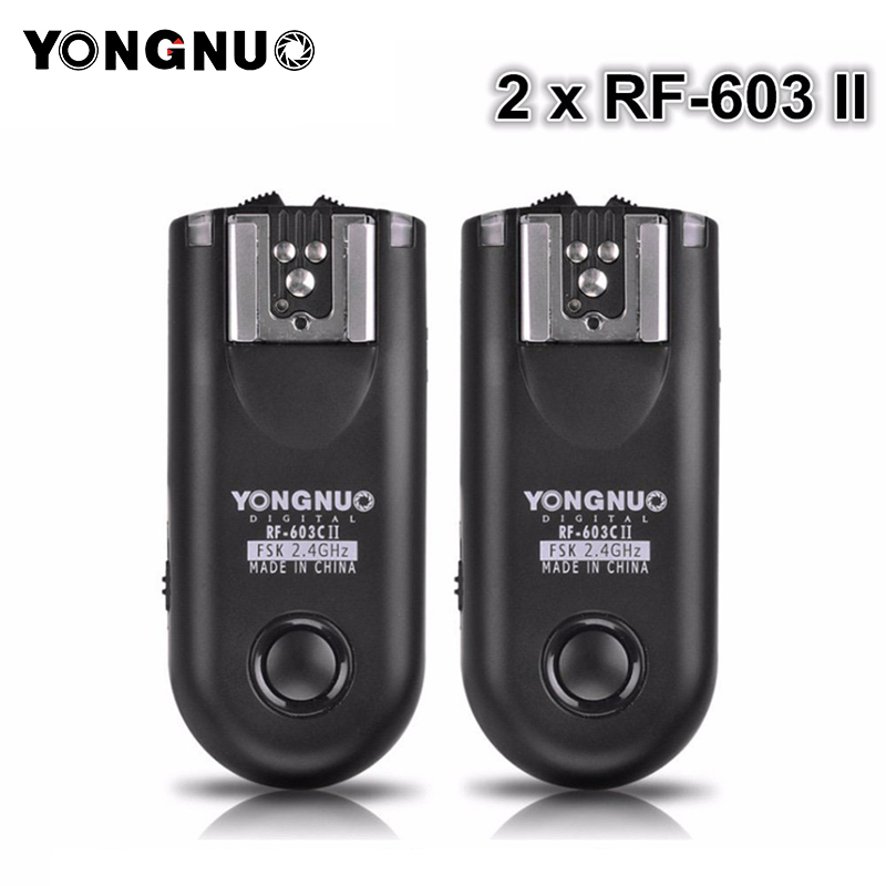 YONGNUO 2pcs RF 603 II Flash Trigger Transceiver Set Shutter Release for Canon Nikon Pentax DSLR