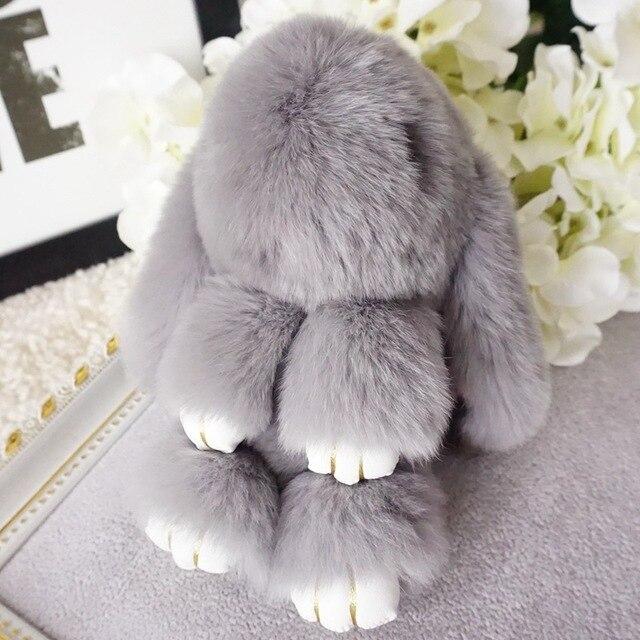 Мода Мех Кролика Брелок Мягкого Натурального меха pom pom брелок Кролик кулон кольцо для ключей брелок Женщины сумку очарование