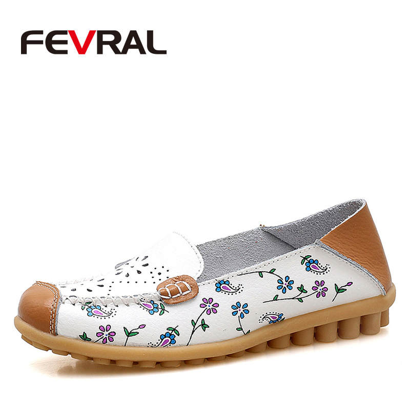 FEVRAL Soft Leisure Flats Woman Fashion Leather Shoes Moccasins Mother Loafers Casual Comfortable Female Driving Ballet Footwear 2017 summer new women fashion leather nurse teacher flats moccasins comfortable woman shoes cut outs leisure flat woman casual s