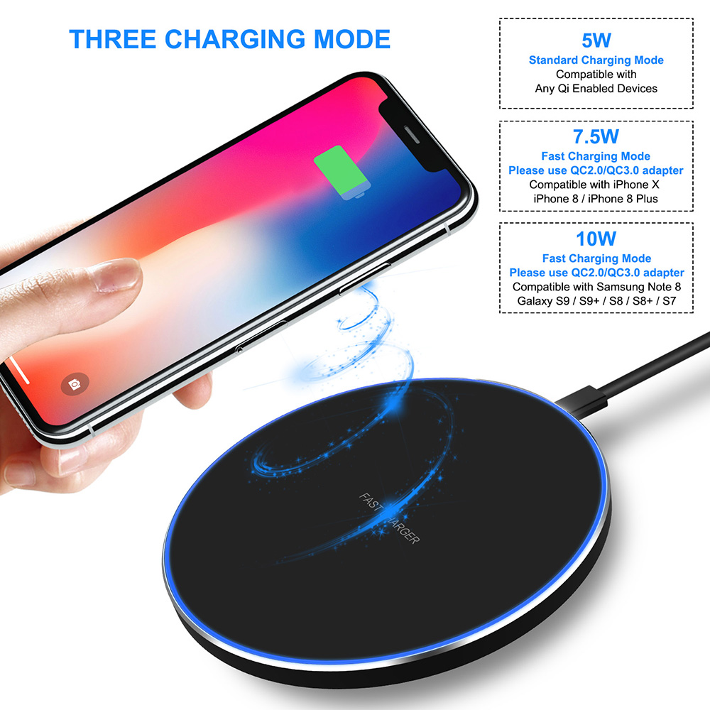 XIAOHE Fast Wireless Charger 7.5W for iPhone X/8/8 Plus, 10W Qi Wireless Charging Pad for Samsung Galaxy S9/S9+/S8/S8+/S7/Note 8