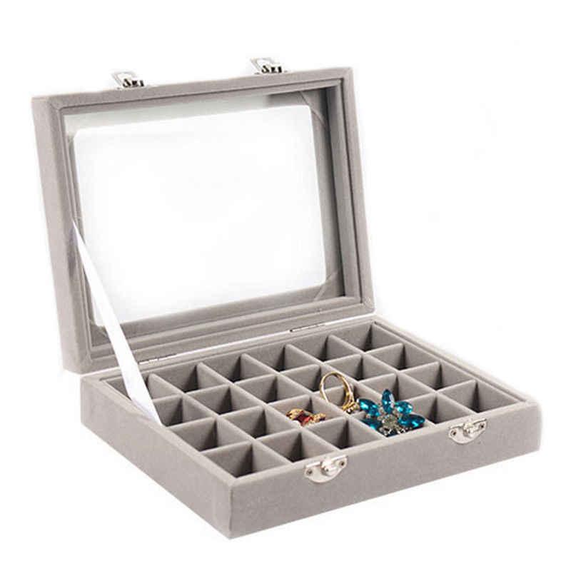 Velours verre bijoux présentoir 20*15*4.5 cm bijoux porte-plateau cercueil rangement organisateur 2017 boucles d'oreilles anneau boîte en gris gris