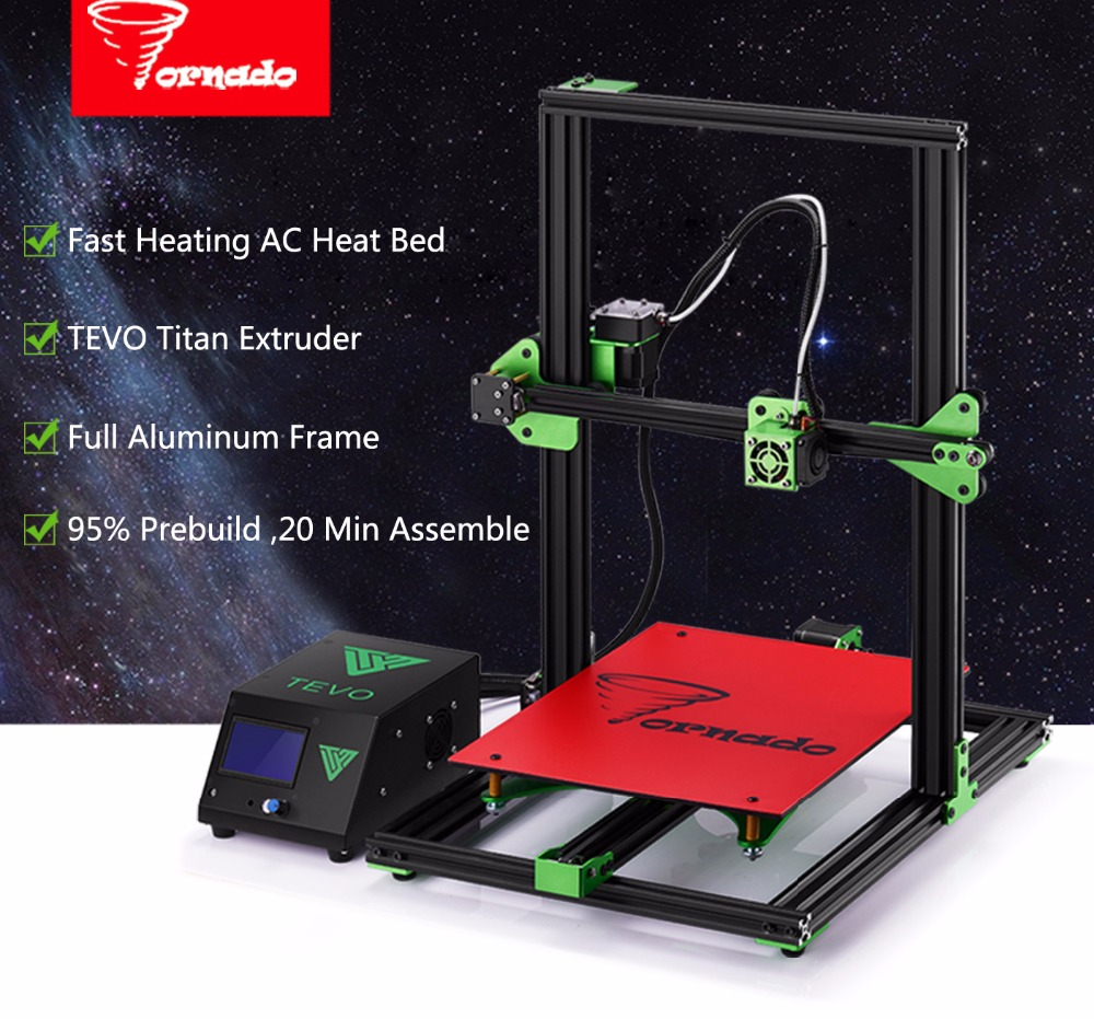 2017 Newest Upgrate TEVO Tornado 3D Printer Impresora 3D Large Printing Assembled full metal frame 3D printer  Titan Extruder 2017 classic tevo tarantula i3 aluminium extrusion 3d printer kit 3d printing 2 roll filament sd card titan extruder as gift