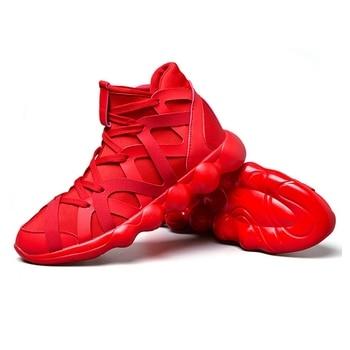 27bb4bb4a09e4 Trend 2019 erkek vulkanize ayakkabı Yüksek Top Kırmızı Alt Ayakkabı  dantel-up Sonbahar Bahar Rahat kanvas ayakkabılar Erkekler için spor  ayakkabı
