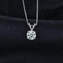 Sterling Silver 1ct CZ Solitaire Pendant Necklace Jewelry