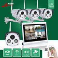 ANRAN CCTV 4CH P2P 720P 12'' LCD Monitor WIFI NVR 4pcs 2 Array IR Waterproof Camera 1.0 MP IP Wireless Surveillance System