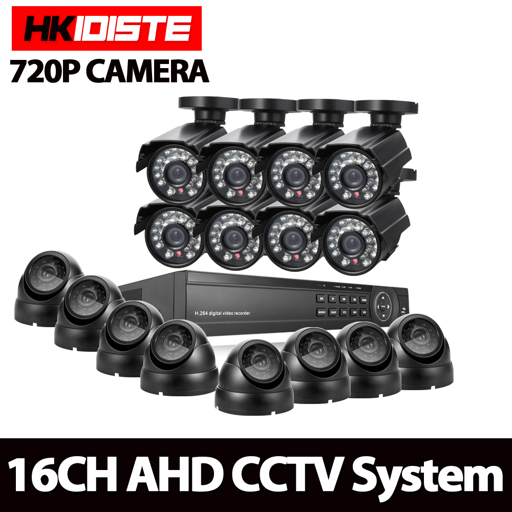 Full HD 16 channel 1080p AHD DVR kit 16pcs Video surveillance Security outdoor indoor 720P Camera 1.0mp Camera 16ch CCTV system full hd 16 channel 1080p ahd dvr kit 16pcs video surveillance security outdoor indoor 720p camera 1 0mp camera 16ch cctv system