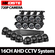 Full HD 16 channel 1080p AHD DVR kit 16pcs Video surveillance Security outdoor indoor 720P Camera 1.0mp Camera 16ch CCTV system