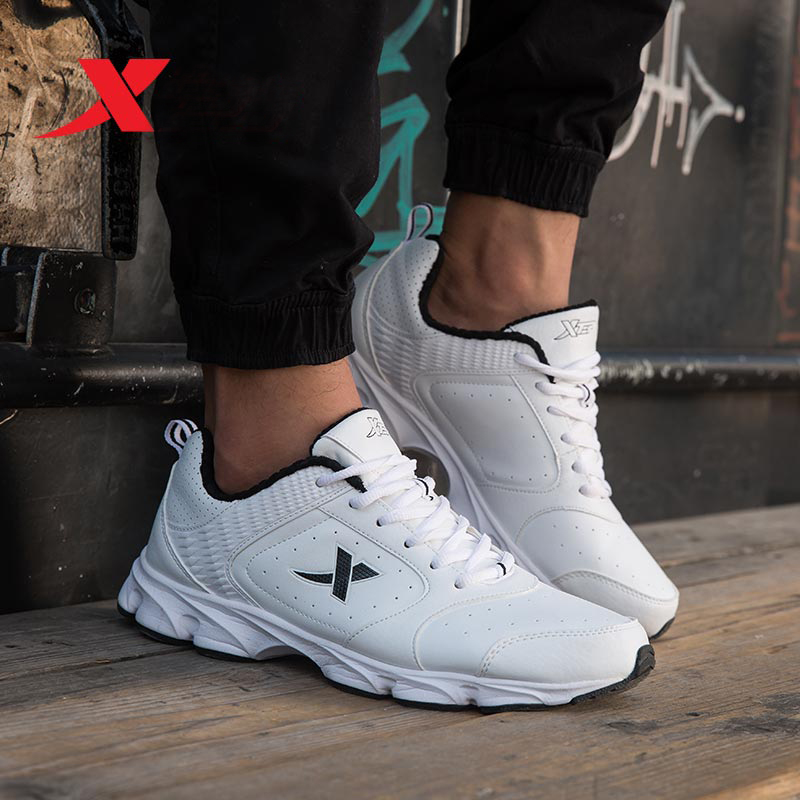 XTEP Men's Running Shoes Leather Rubber men Sneakers Athletic Sports Shoes Outdoor Trainers Shoes free shipping 987419119685