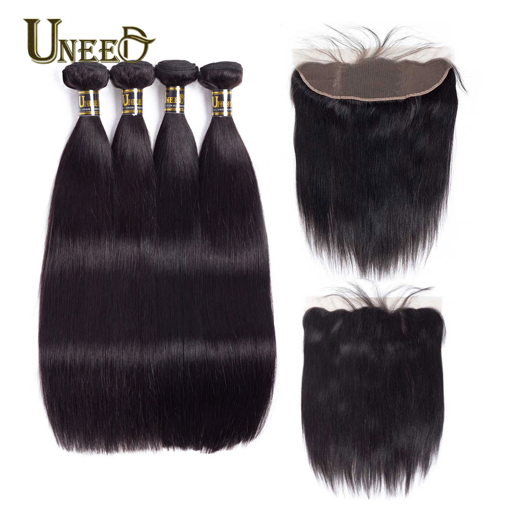 Uneed 3 or 4 Brazilian Straight Human Hair Bundles With 13X4 Frontal Closure Remy Brazilian Hair Weave Bundles With Frontal