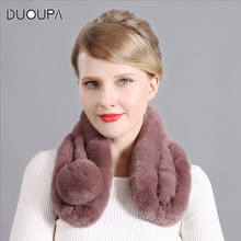 Rex Rabbit Hair Encrypted Thickened Three-Tube Scarf Lady New Autumn and Winter Heating Fur Ball Wholesale