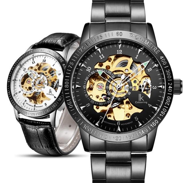 fa909d74864 Top de Luxo Relógio Automático Dos Homens de Ouro preto Dos Homens de  Esqueleto Mecânico Relógio