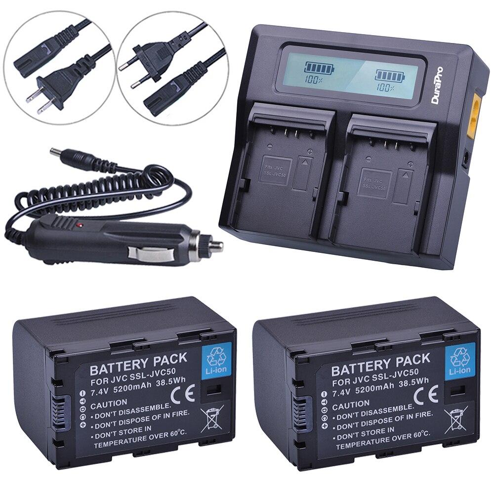 2x 5200mAh SSL-JVC50 Bateria +LCD Quick Charger for JVC SSL-JVC50 GY-HMQ10 GY-LS300 GY-HM200 GY-HM600 GY-HM600EC GY-HM650 Camera мечи gu yuan gy 0049