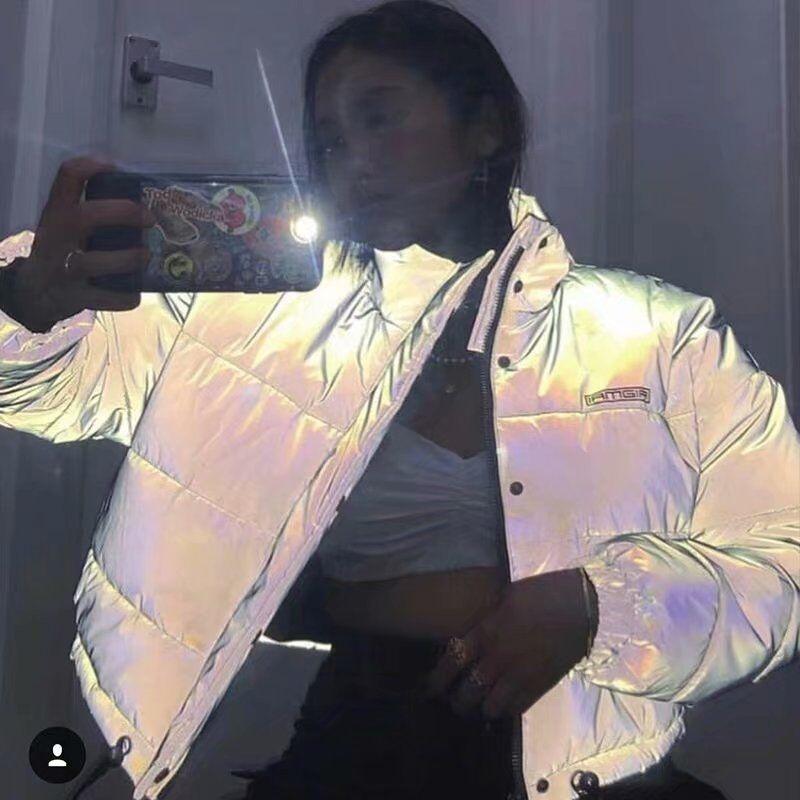 Dulzura flash reflective women padded jacket short tops warm 18 autumn winter solid zipper oversize loose outwear coats casual 16
