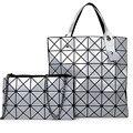 2016 famoso diseñador de moda de Corea del mosaico geométrico bolso de las mujeres de calidad Láser cadena bolso bandolera de cuero de LA PU