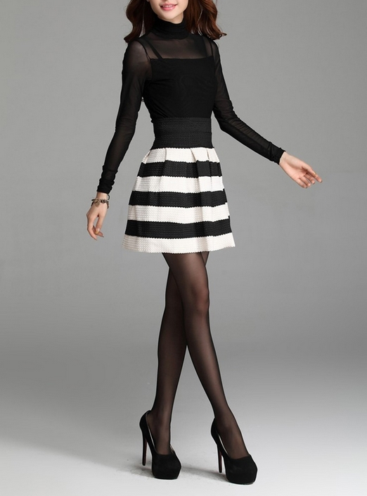 Black White Skirt - Skirts