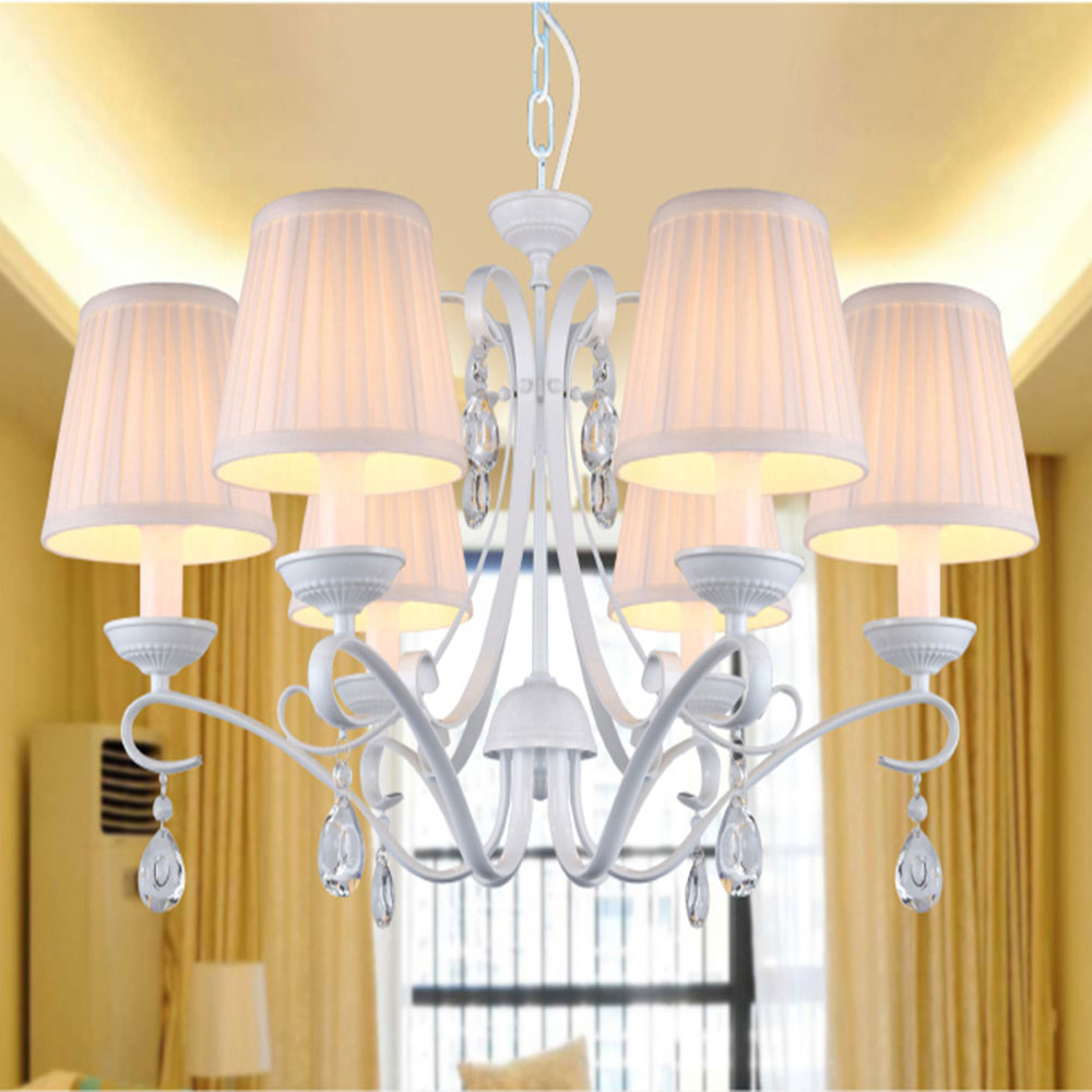 Modern Minimalist Home Lighting Living Room Glass Chandelier Crystals Lights E14 White Modern Crystal Chandeliers with Shade