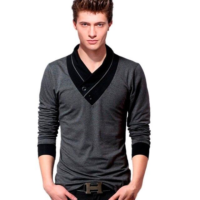 Мужчины С Длинным рукавом Футболка Повседневная Рубашка Slim Fit Tee Футболки v-образным вырезом Мужская Футболка Размер M, L, XL, 2XL 3XL 4XL 5XL