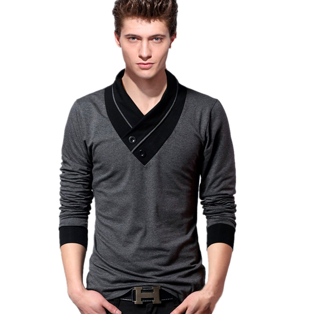 Men long sleeve t shirt casual shirt slim fit tee t shirts for Long sleeve fitted tee shirt