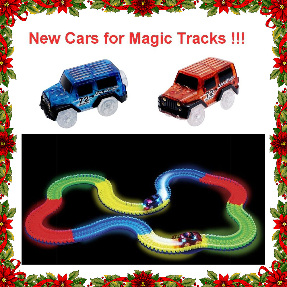 LED Light up Cars for Tracks Electronics Car Toys With Flashing Lights Fancy DIY Toy Cars For Magic Glow Track Set for Children