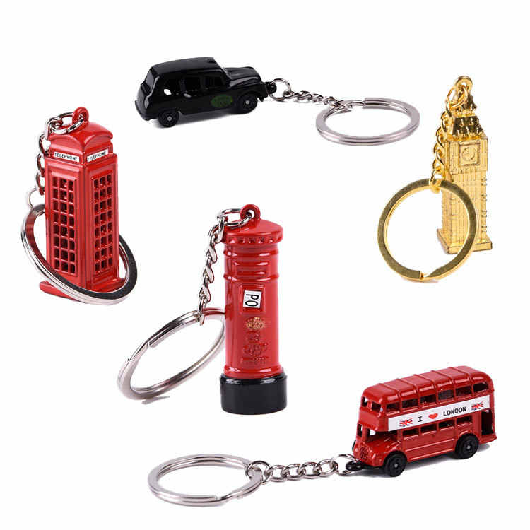 Model Small Post office London Red Telephone Booth Bus Keychain Mail Box Taxi Big Ben Souvenir Gift Box Key chain London Bus key