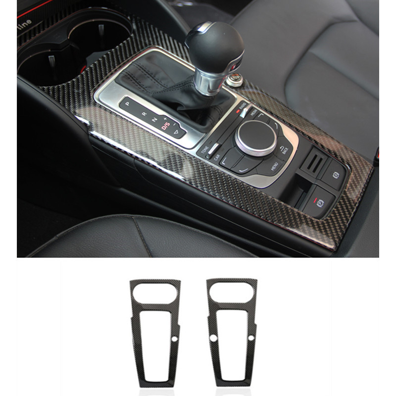 car gear shift frame decorative cover trim auto interior carbon fiber multimedia panel strip 3d. Black Bedroom Furniture Sets. Home Design Ideas