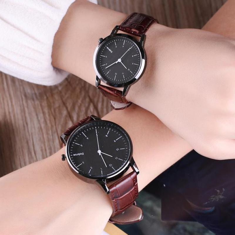 2019 Fashion Couples Watch Mens Casual Leather Quartz Watch Men Women Dress Sport Wrist Watch Ladies Clock Relogio Feminino