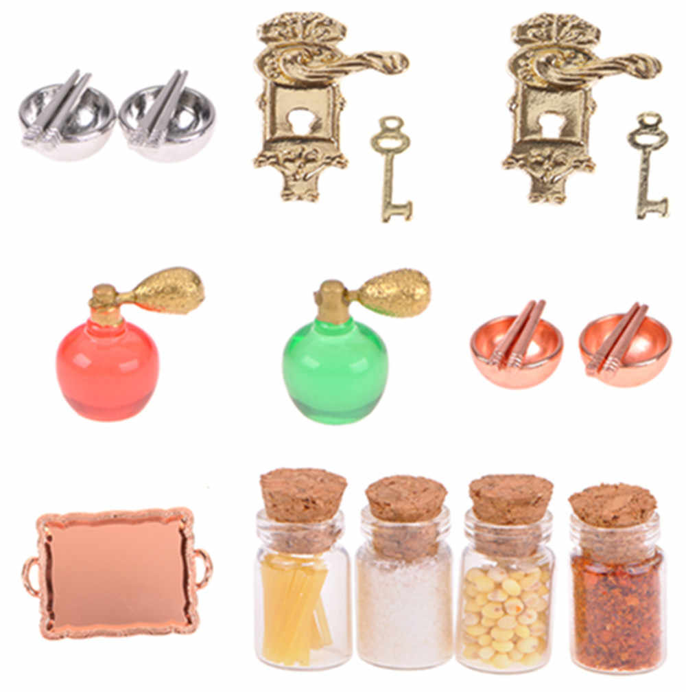 2019 Door Lock and Key/White Ladder/Honey Pot/Tableware/Perfume/Food Bottle/ Dollhouse DIY Accessories 1/12 Scale Miniature