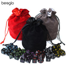 Opaque Black Polyhedral Dice 6 Sets and Drawstring Velvet Pouch for DnD RPG MTG Board Games D4 D6 D8 D10 D% D12 D20(China)