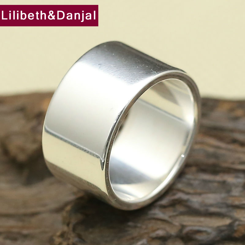 Brand Ring 100% Real 999 Sterling Silver Wide 9mm 12mm Smooth Couple Engagement Ring Men Women Fine Jewelry R6