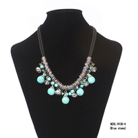 Women Bohemian style calaite turquoises stone jewelry crystal necklace chokers necklaces accessories ball stone pendants strand