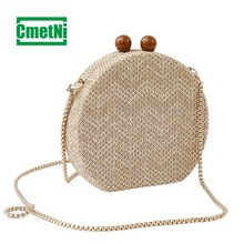 Simple Fashion Lady Crossbody Knit Vintage Acrylic Material Package Dinner Clutch Acrylic Woven Bag Acrylic Wallet цена в Москве и Питере