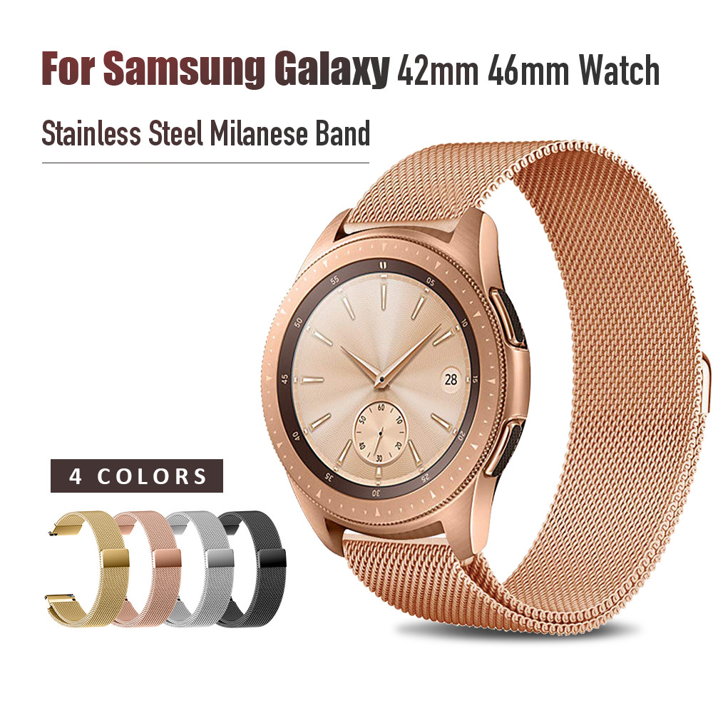 <font><b>20mm</b></font> 22mm Width Stainless Steel Band for Samsung Galaxy Watch 42mm 46mm Milanese Wristband Metal <font><b>Magnetic</b></font> Release Strap image