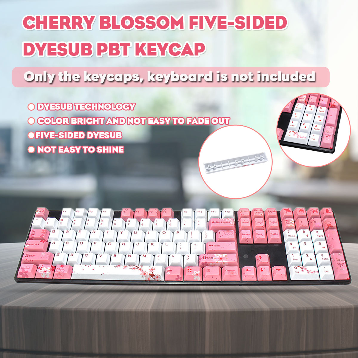 LEORY Cherry Blossom five - sided PBT Hot Sublimation Mechanical Keyboard  KeyCap Original Height Keyboard Custom Keycaps(China)