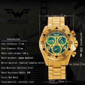 Image 4 - Оригинальные мужские часы с золотым календарем, украшенные большим циферблатом, 6 контактная спиральная Корона, спортивные часы США, мужские часы с волком кубом