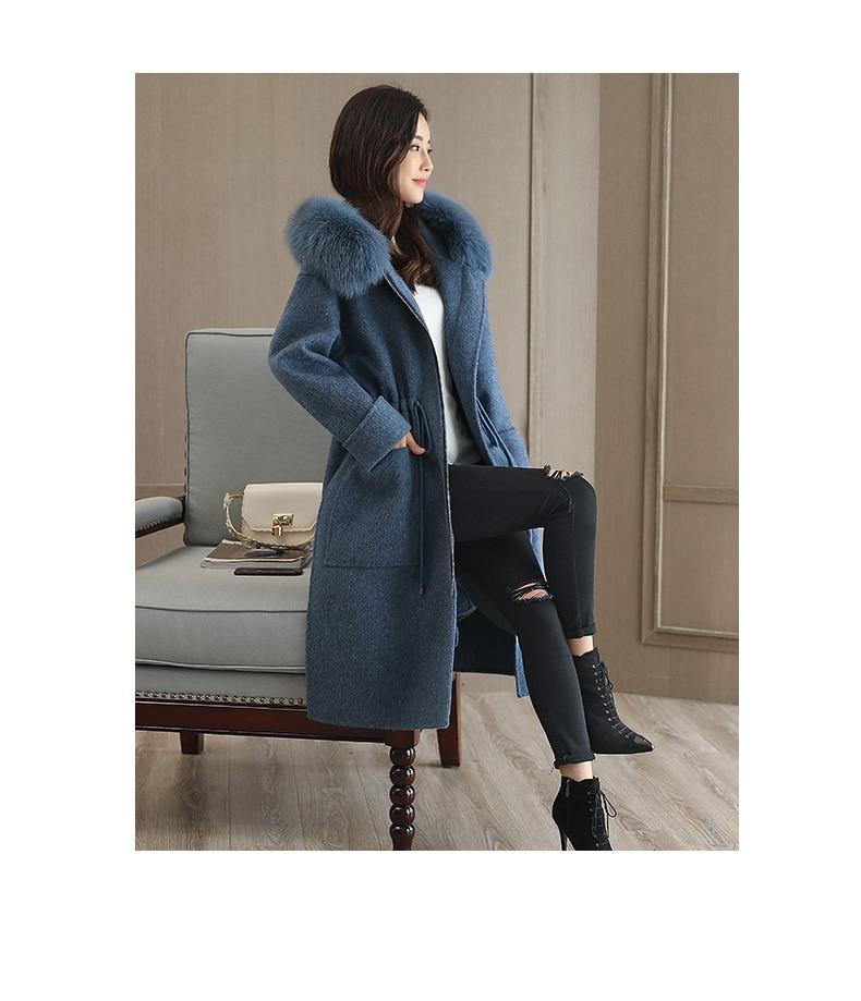 Manteau Col Veste Chaud Grande Élégantes Femmes Cachemire À Nouvelles Gray D'hiver De Laine Dames Mince Manteaux blue 729 Fourrure Taille Capuchon fqYMYwIExg