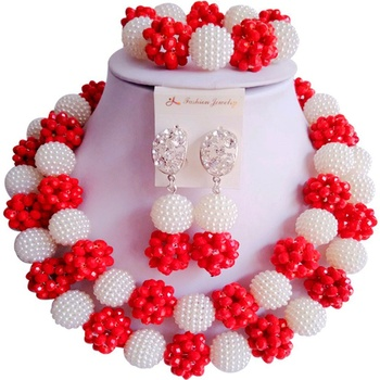 Direct Sale White Opaque Red African Style Crystal Beads Engagement Jewelry Sets 2C-ZZSJ-67