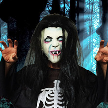 Zombie Scary Mask Halloween Mascaras Cosplay Terror Horror Masks Realistic Latex Long Hair Ghost Masker